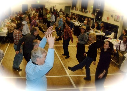 Blaina ceilidh band, Life of Riley, playing and calling for a party near Blaina